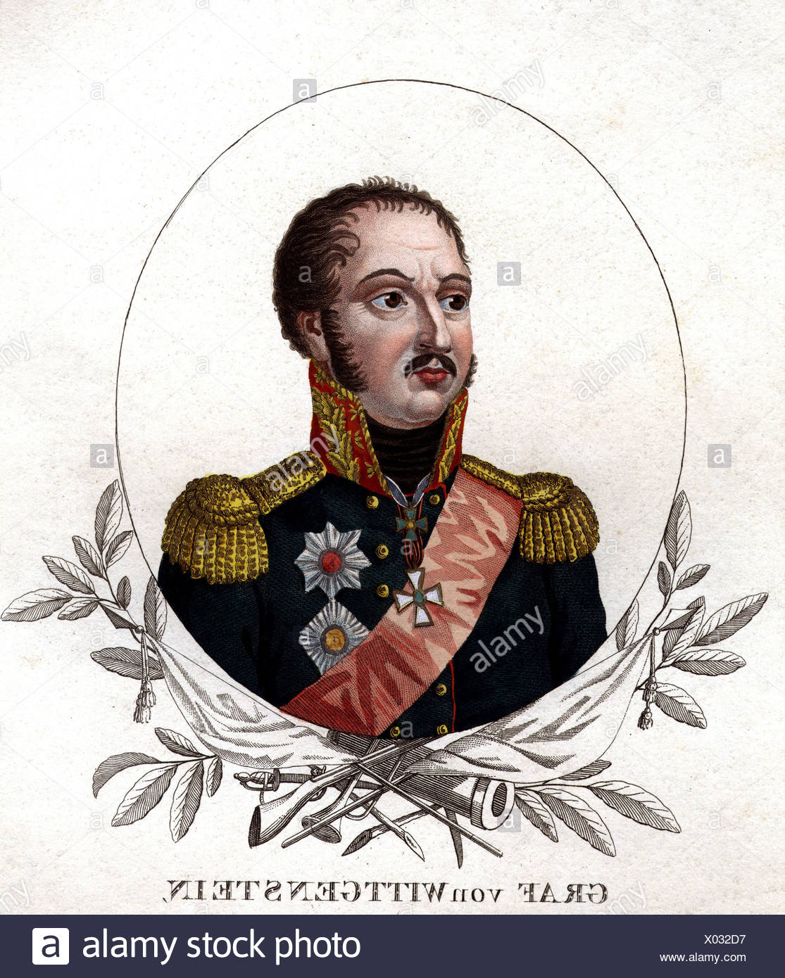 Wittgenstein, Ludwig Adolf von, 5.1.1769 - 11.6.1843, Russian General, portrait, coloured steel engraving, 19th century, , Artist's Copyright has not to be cleared Stock Photo