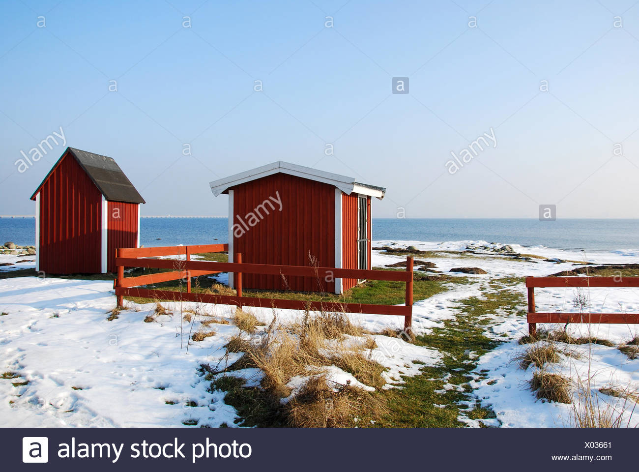 Fishermens Old Red Cabins At The Coast Of Baltic Sea In