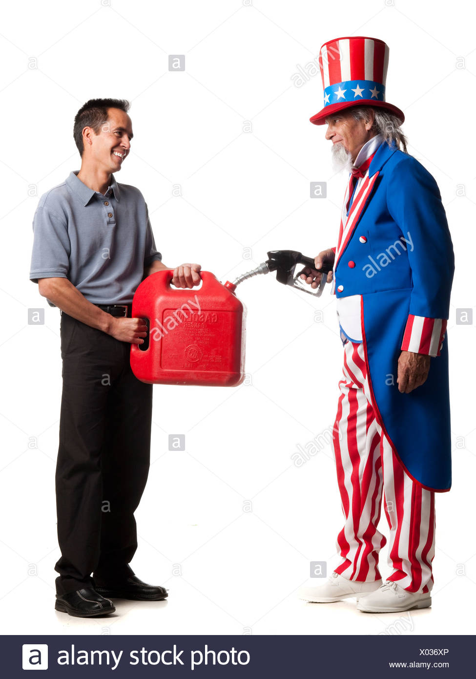 uncle sam holding a gasoline pump filling a man's gas can - Stock Image