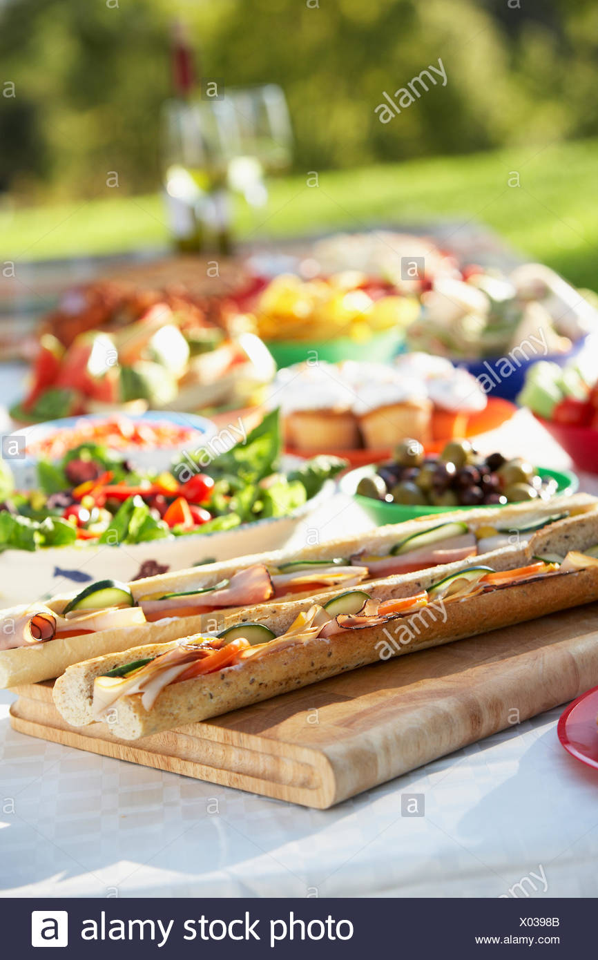 Picnic Buffet Garden Party Dining Table Stock Photo Alamy
