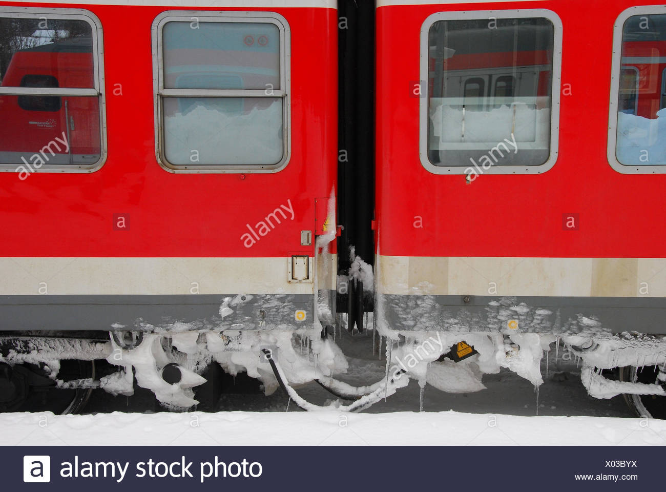 Federal Railroad, train, carriages, freezes over, winter, - Stock Image