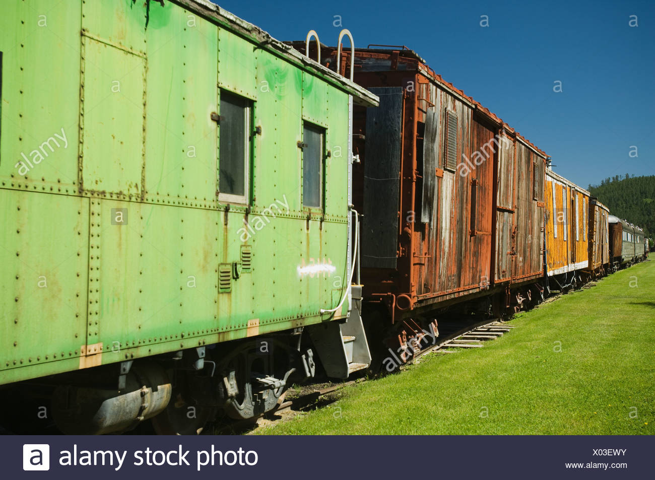 Abandoned freight train - Stock Image