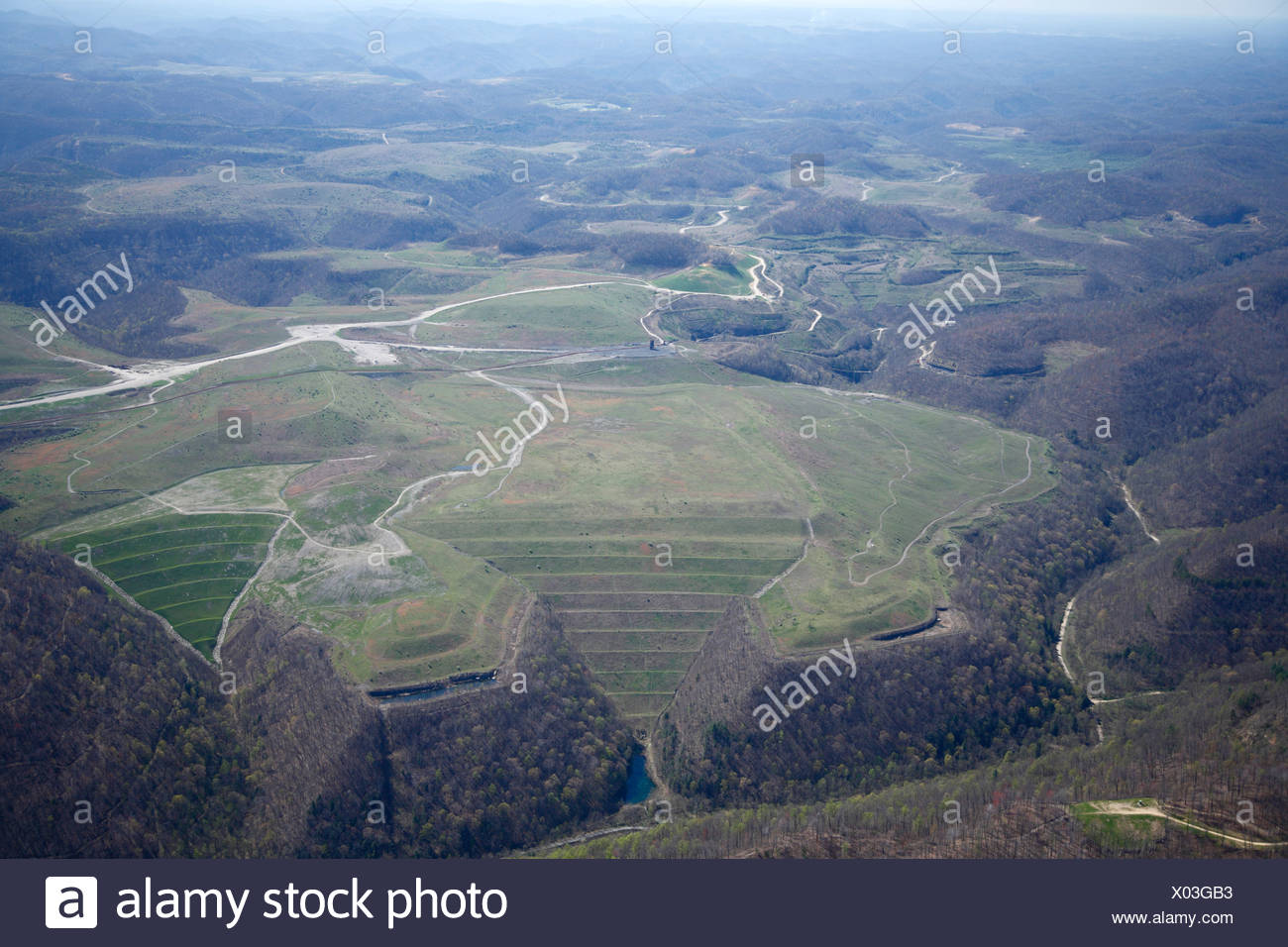 Aerial view Mountaintop Removal coal mining in West Virginia - Stock Image