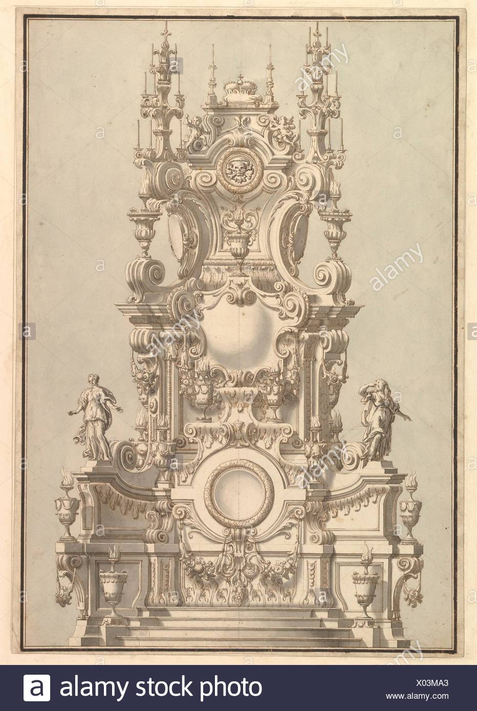 Elevation of a Catafalque, Surmounted by a Royal Crown, with Scull and Cross Bones in Wreath-Encircled Cartouche just below. Artist: Workshop of - Stock Image