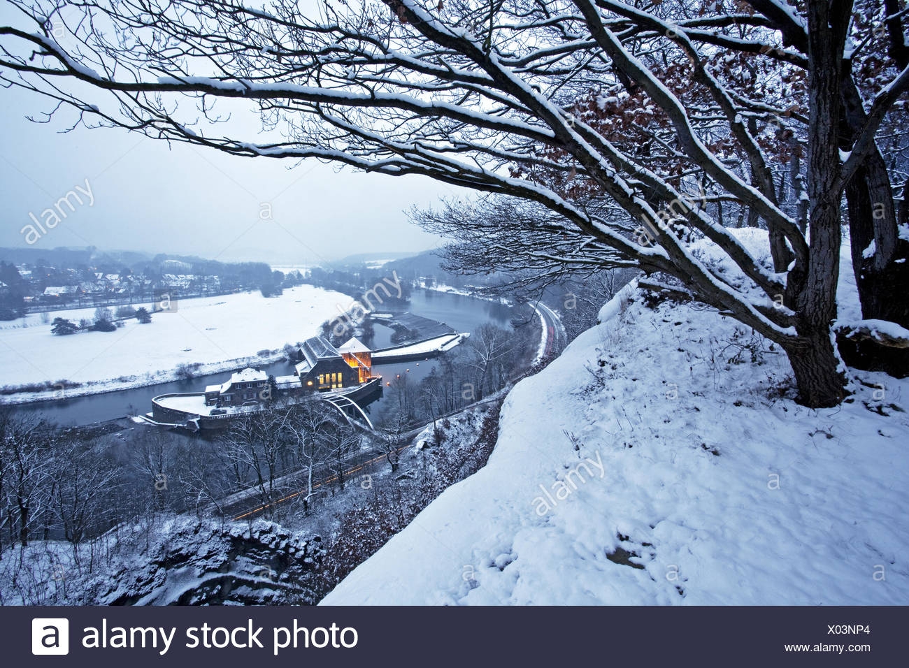 The Ruhr valley in winter, Witten, Germany - Stock Image