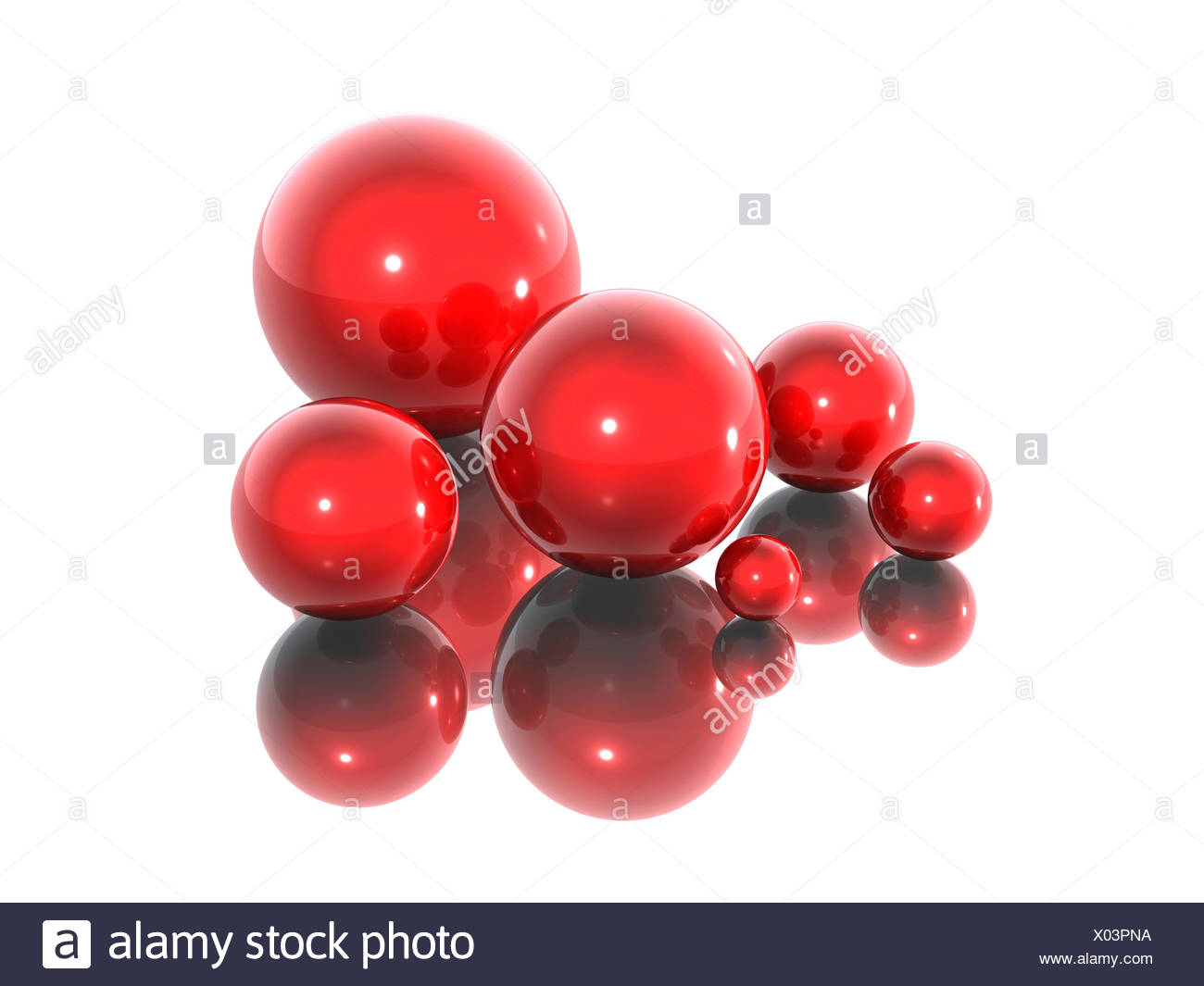 noble artificial ruby group red virtual bowls art mirroring brilliance bright - Stock Image