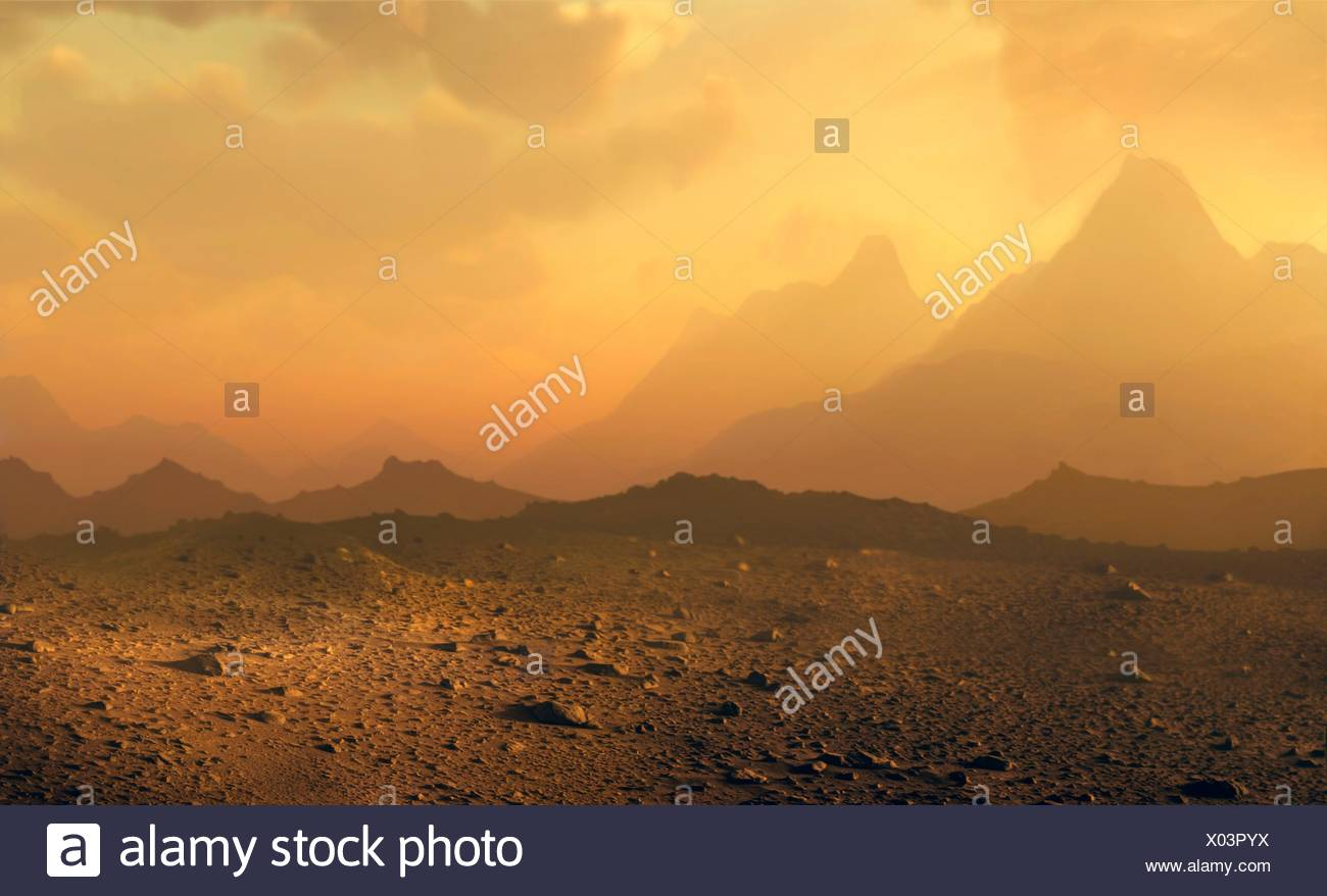 Surface of Venus. Computer illustration of a view across the rocky surface of the planet Venus, showing clouds of sulphuric acid obscuring the Sun. Venus lies around 108 million kilometres from the Sun, around two-thirds of the Earth-Sun distance, and is slightly smaller than Earth. It has the hottest planetary surface in the solar system, with temperatures of nearly 500 degrees Celsius since its dense carbon dioxide atmosphere traps the Sun's heat. The surface atmospheric pressure is around 90 times that on Earth. - Stock Image