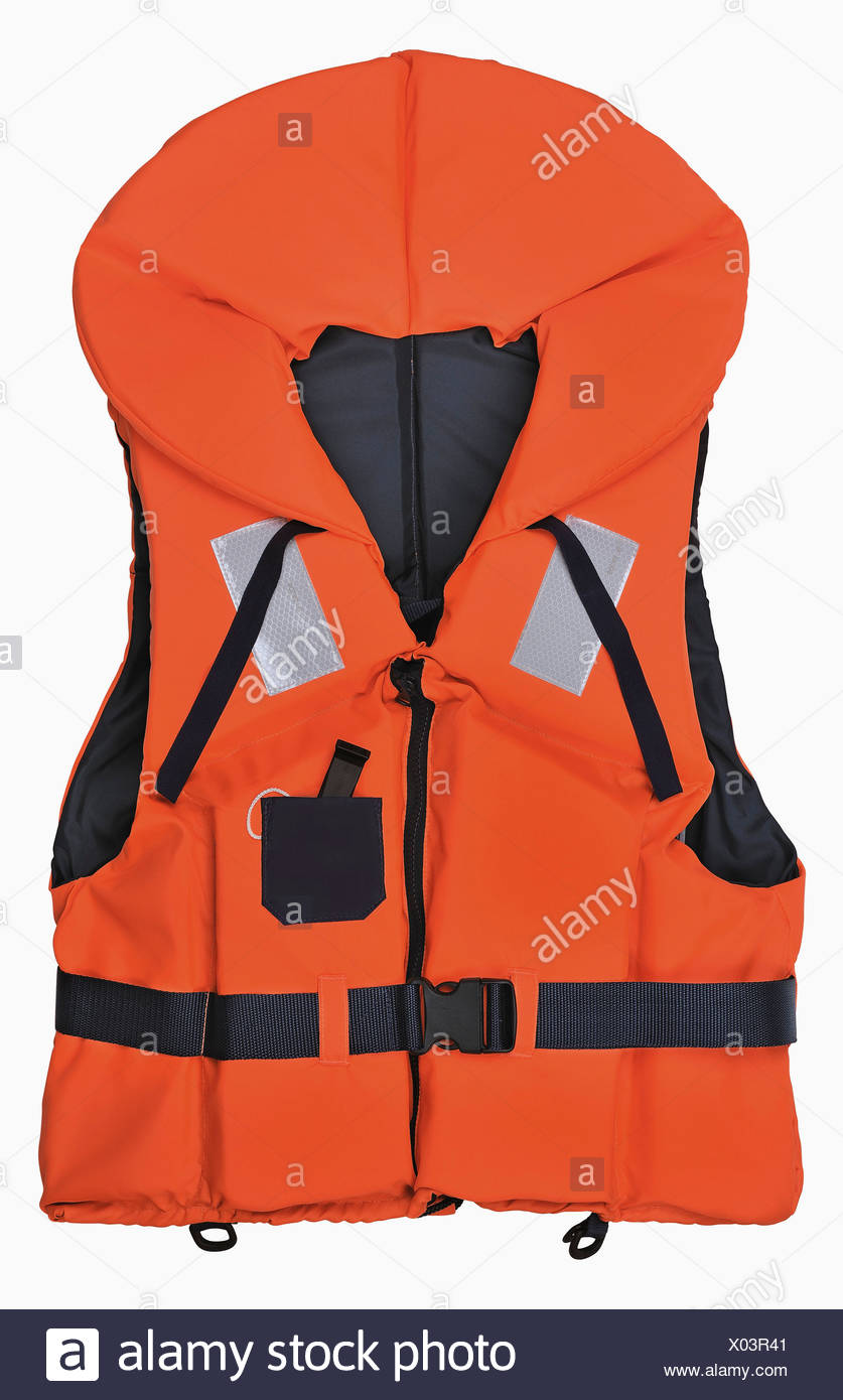 Life Vest Against White Background Close Up Stock Photo Alamy