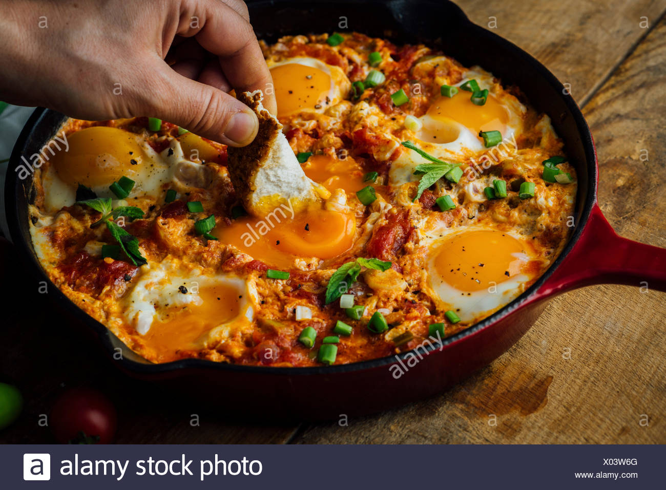 Dipping a traditional Turkish bread called simit into an egg dish made with eggs, tomatoes and green peppers called menemen or s - Stock Image