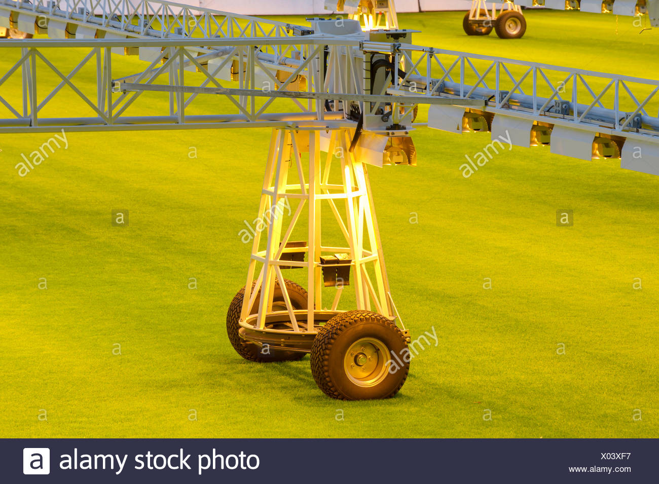 Part of a lawn lighting system to improve the grass quality, Westfalenstadion, football stadium, Dortmund - Stock Image