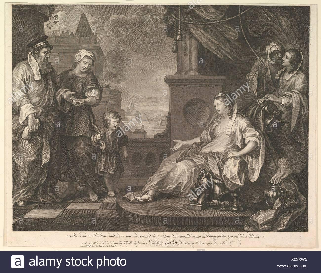 Moses Brought to Pharaoh's Daughter. Artist and engraver: William Hogarth  (British, London 1697-1764 London); Engraver: Luke Sullivan (Irish,