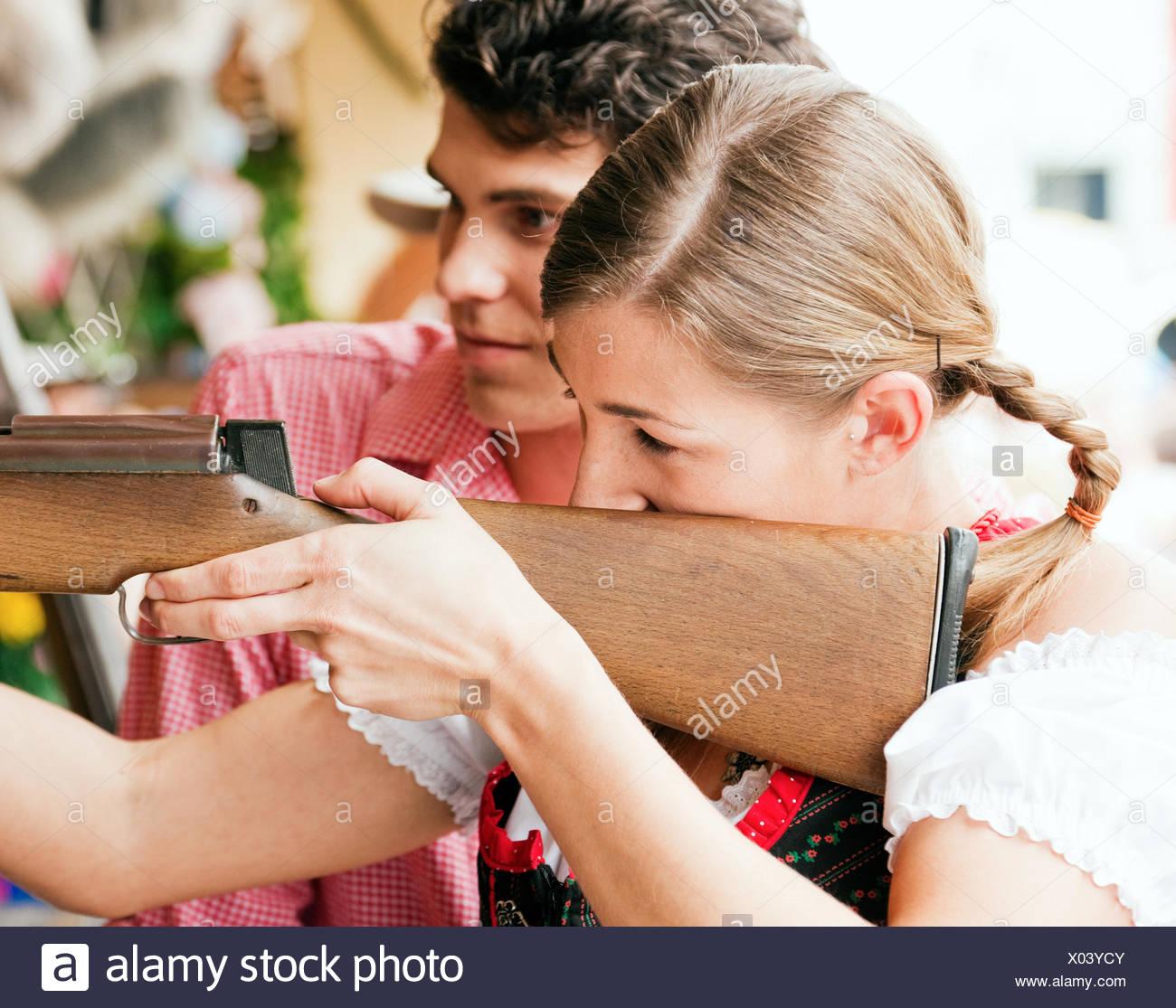 couple on rummel - shooting - Stock Image