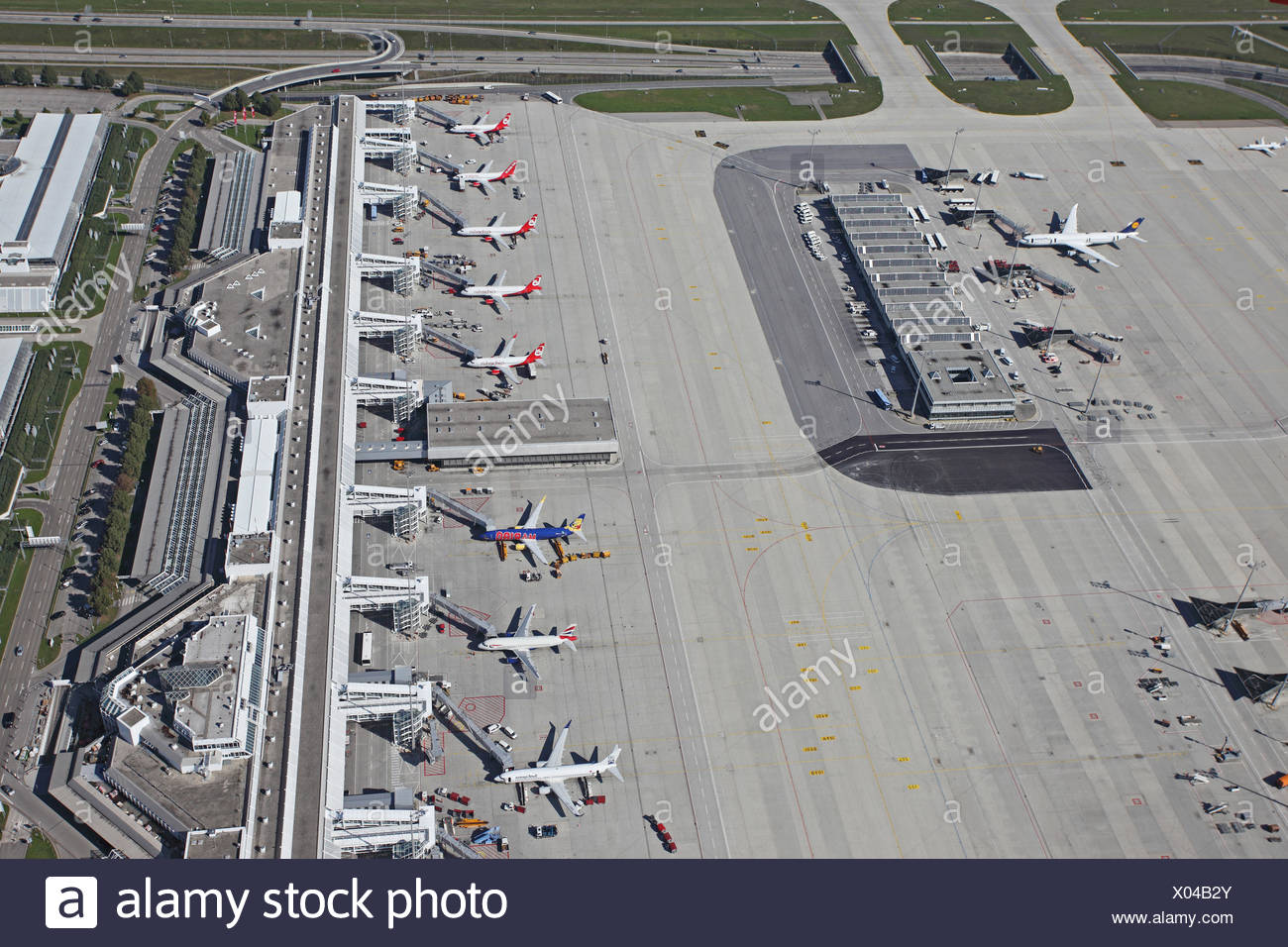 Munic airport, with parts of Terminal 1, Germany, Bavaria, Muenchen - Stock Image