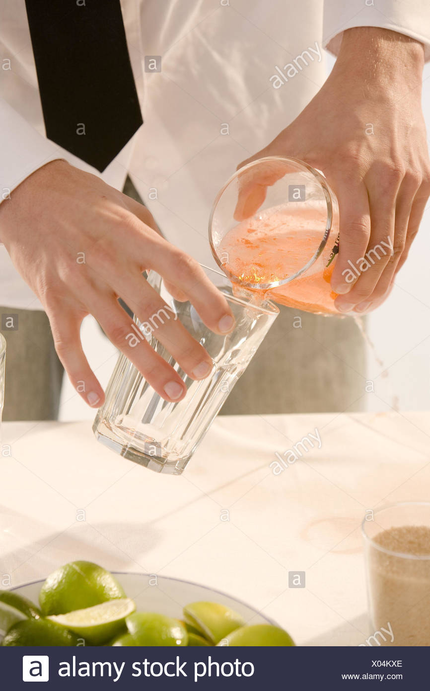 Barkeepers, detail, hands, cocktail, glass, pour, Stock Photo