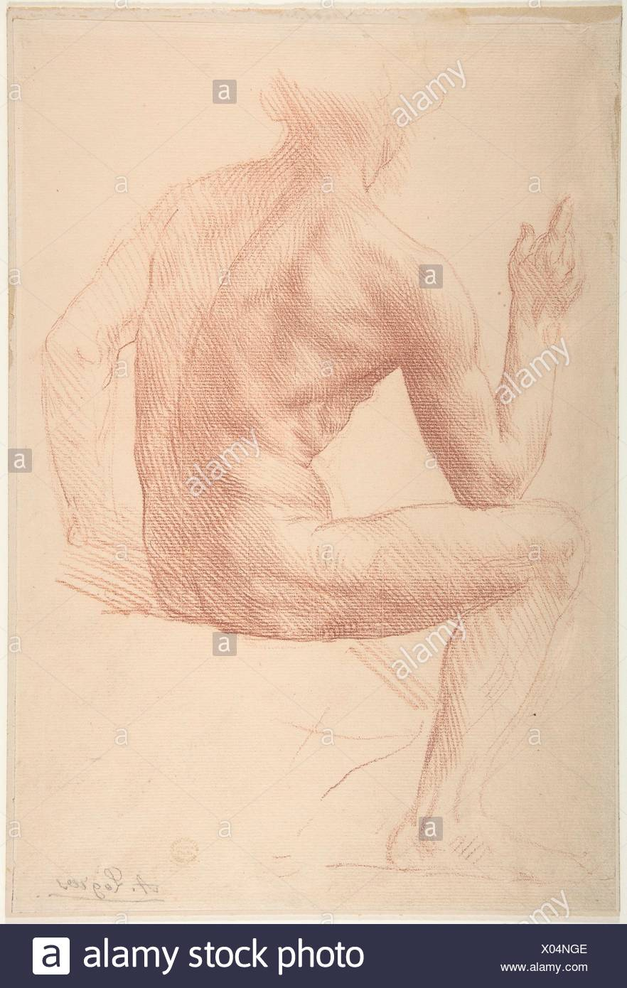 Study of a Figure. Artist: Alphonse Legros (French, Dijon 1837-1911 Watford, Hertfordshire); Date: 1837-1911; Medium: Red chalk; Dimensions: 13 15/16 - Stock Image
