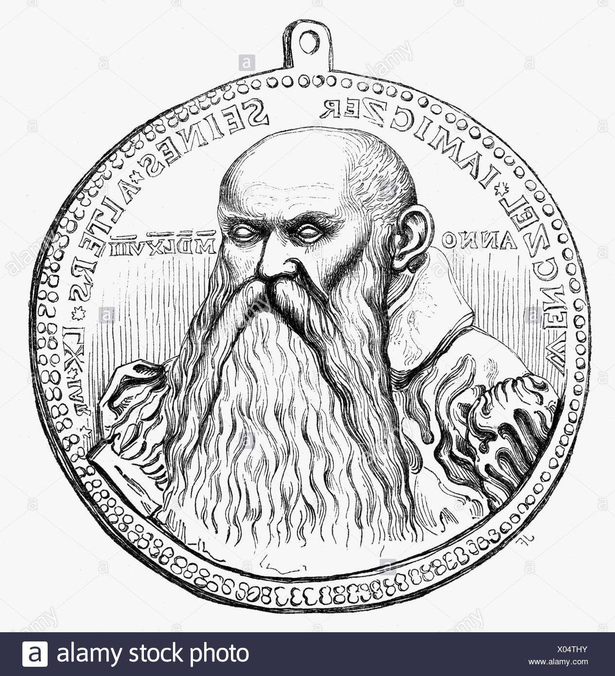 Jamitzer, Wenzel (Jamnitzer), 1508 - 19.12.1585, German printmaker, goldsmith, mathematician, portrait, wood engraving after medal, 16th century, Additional-Rights-Clearances-NA - Stock Image