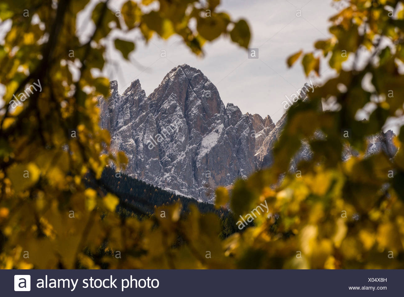 The Sass RIgas on the Odle Group, Vla di Funes, Trentino Alto Adige, ItLY, Stock Photo