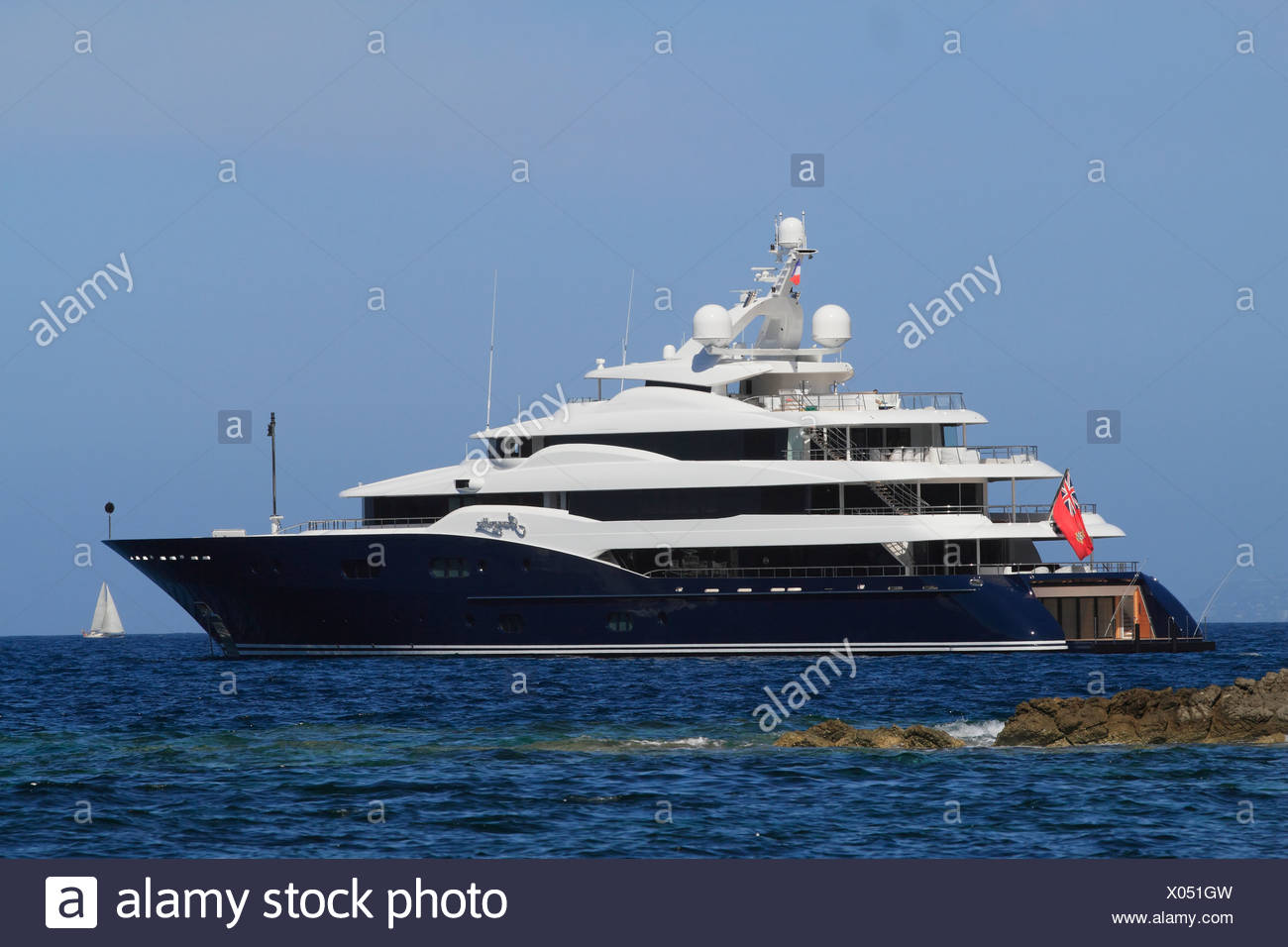 Amaryllis, a cruiser built by Abeking and Rasmussen, length: 78.43 meters, built in 2011, French Riviera, France, Europe Stock Photo