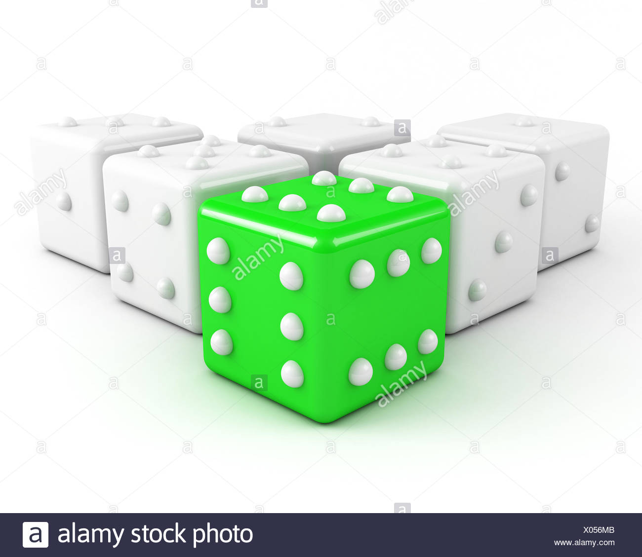 green leading dice. winning leadership concept - Stock Image