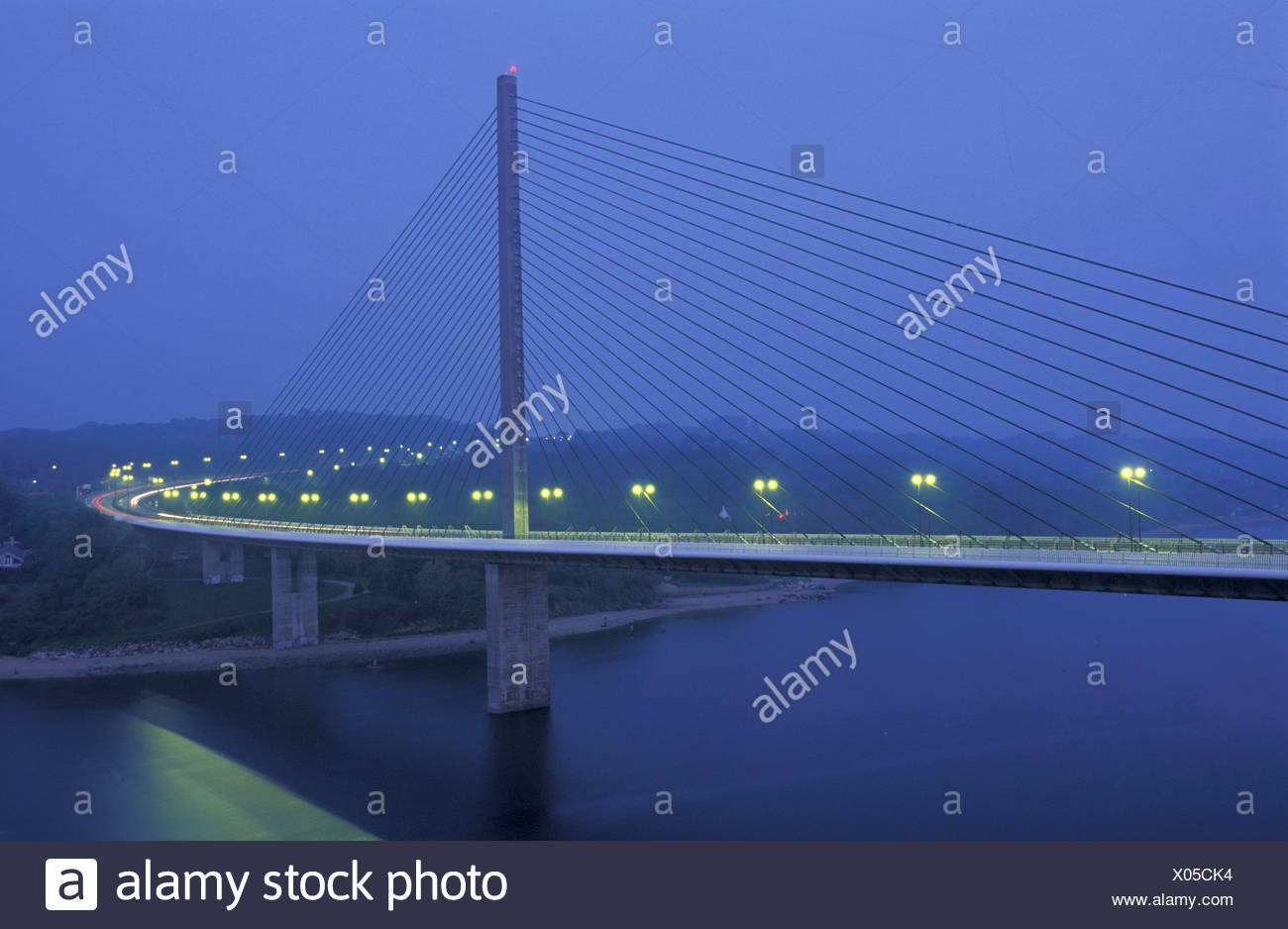 Pont Loupe, Brest, Brittany, Bretagne, France, Europe, bridge, suspension bridge, night - Stock Image