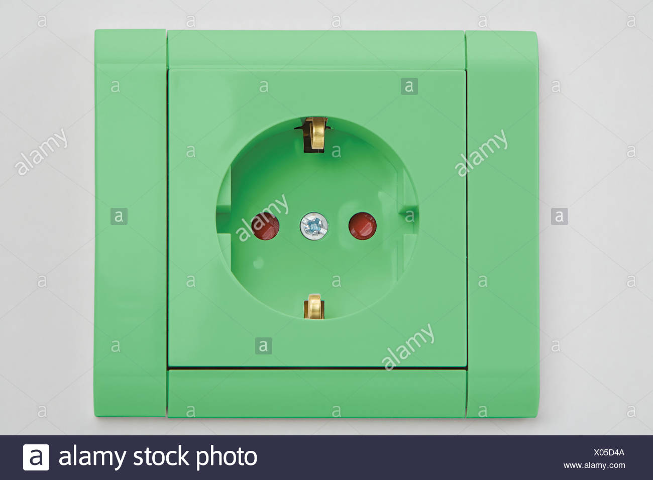 A green electrical socket Stock Photo