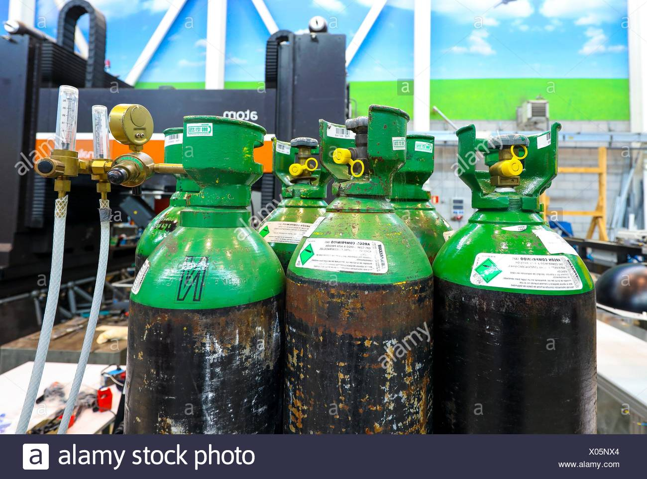 Tanks for compressed gas at high pressure, Argon compressed, Industry, Tecnalia Research & innovation, Technology and Research Centre, Miramon - Stock Image