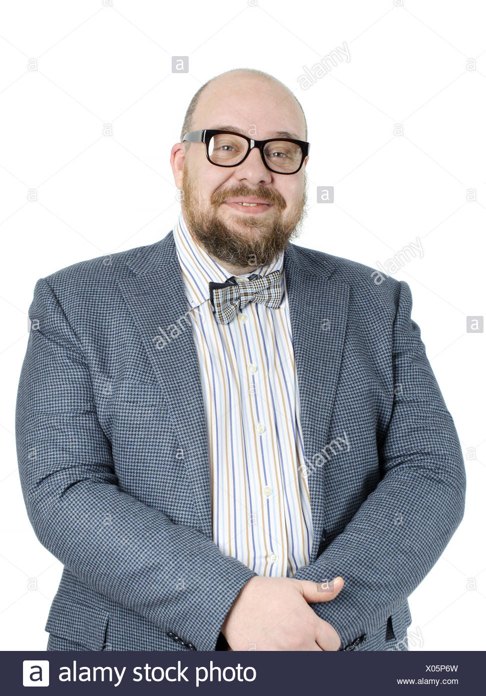 Smiling bearded man in a full jacket. - Stock Image