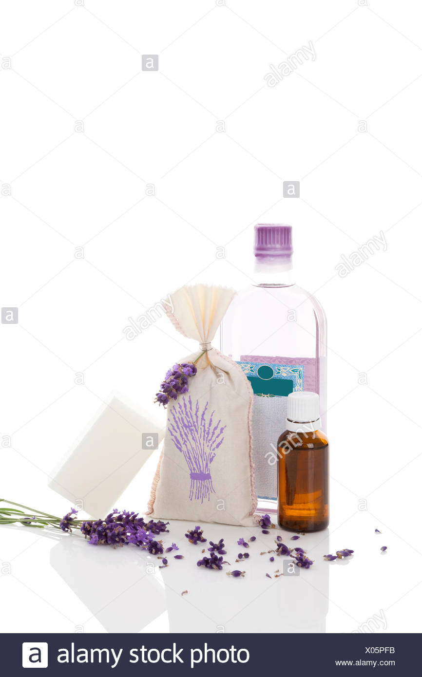 Lavender Cosmetics Isolated On White Background Essental