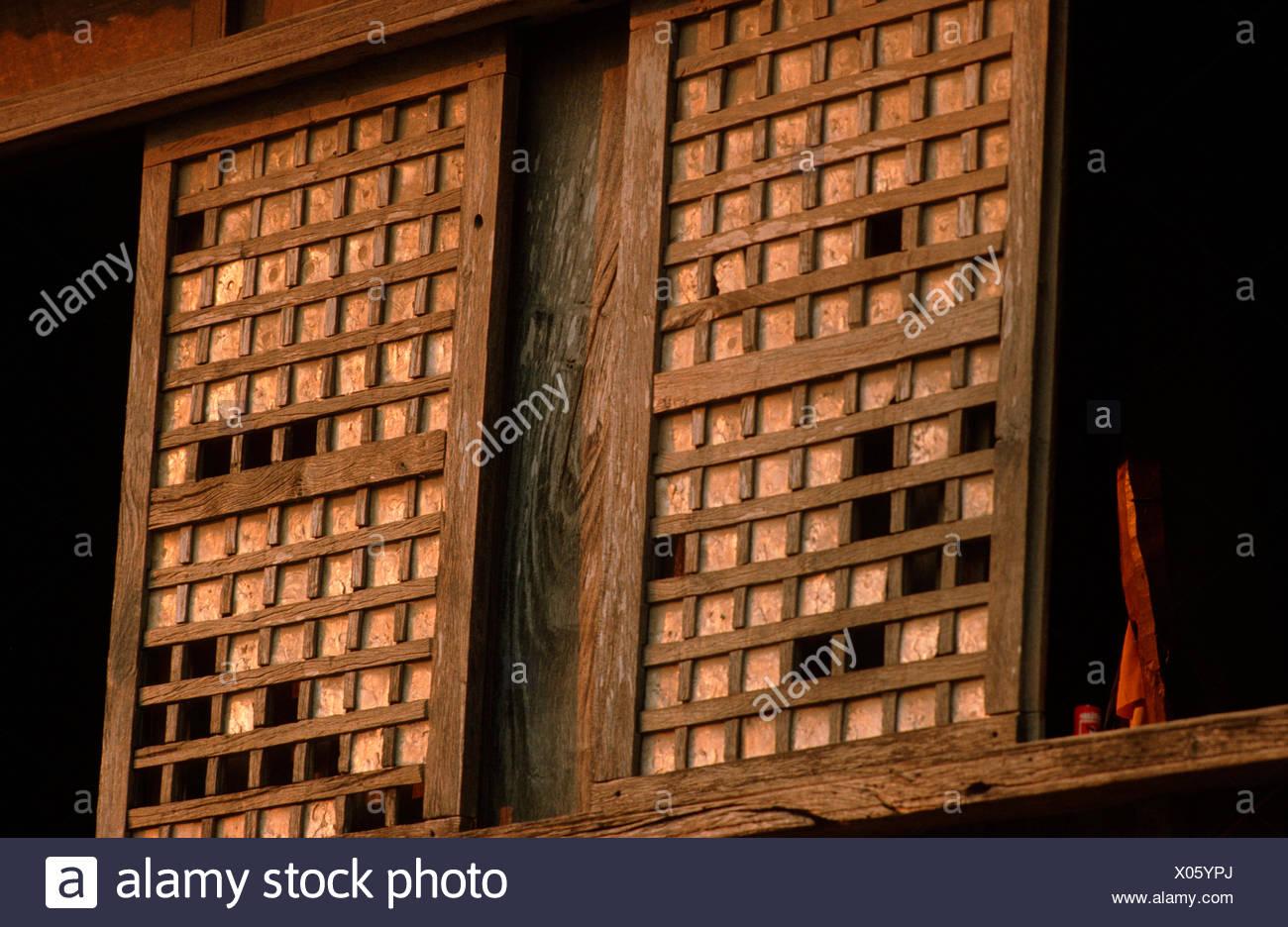 Windowpane oyster, Window shell, Jingle shell (Placuna placenta), shells bild into a slide window for light regulation, Philippines - Stock Image