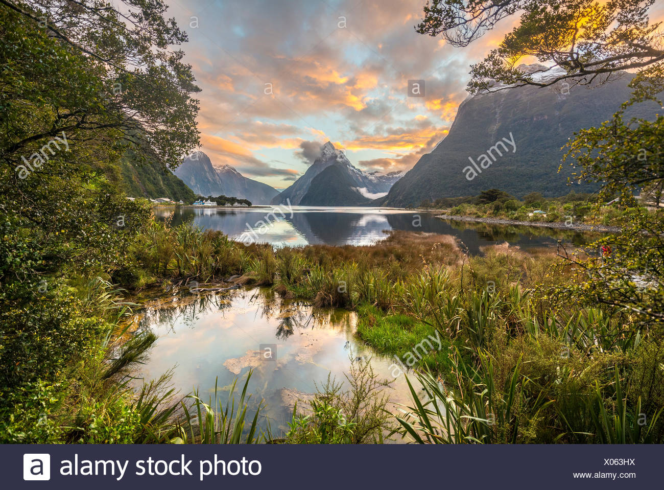 Mitre Peak, Sunset, Milford Sound, Fiordland National Park, Te Anau, Southland Region, Southland, New Zealand, Oceania - Stock Image