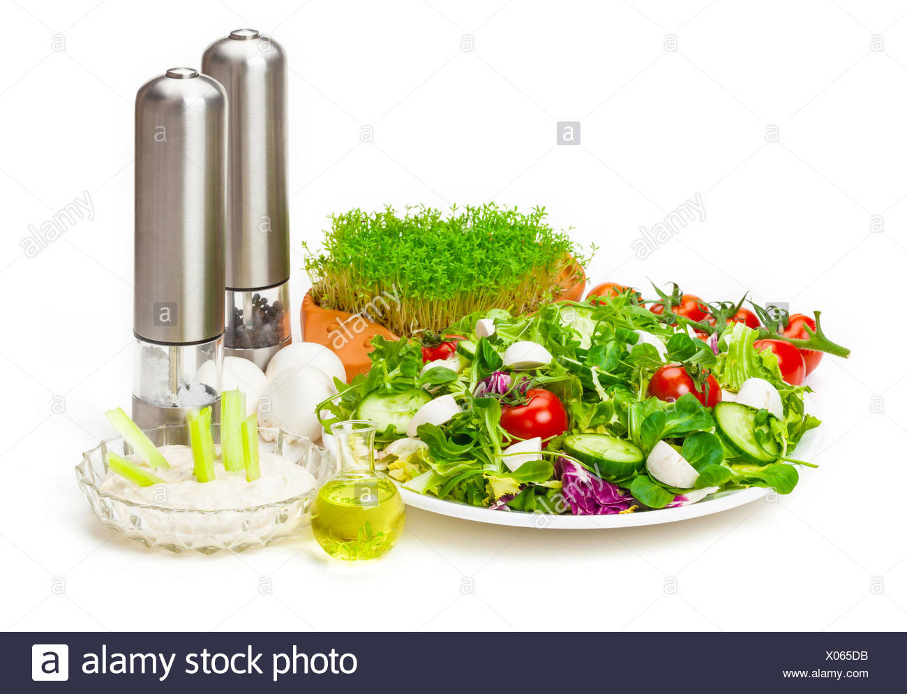 Mixed salad, dip, oil, spice grinders - Stock Image