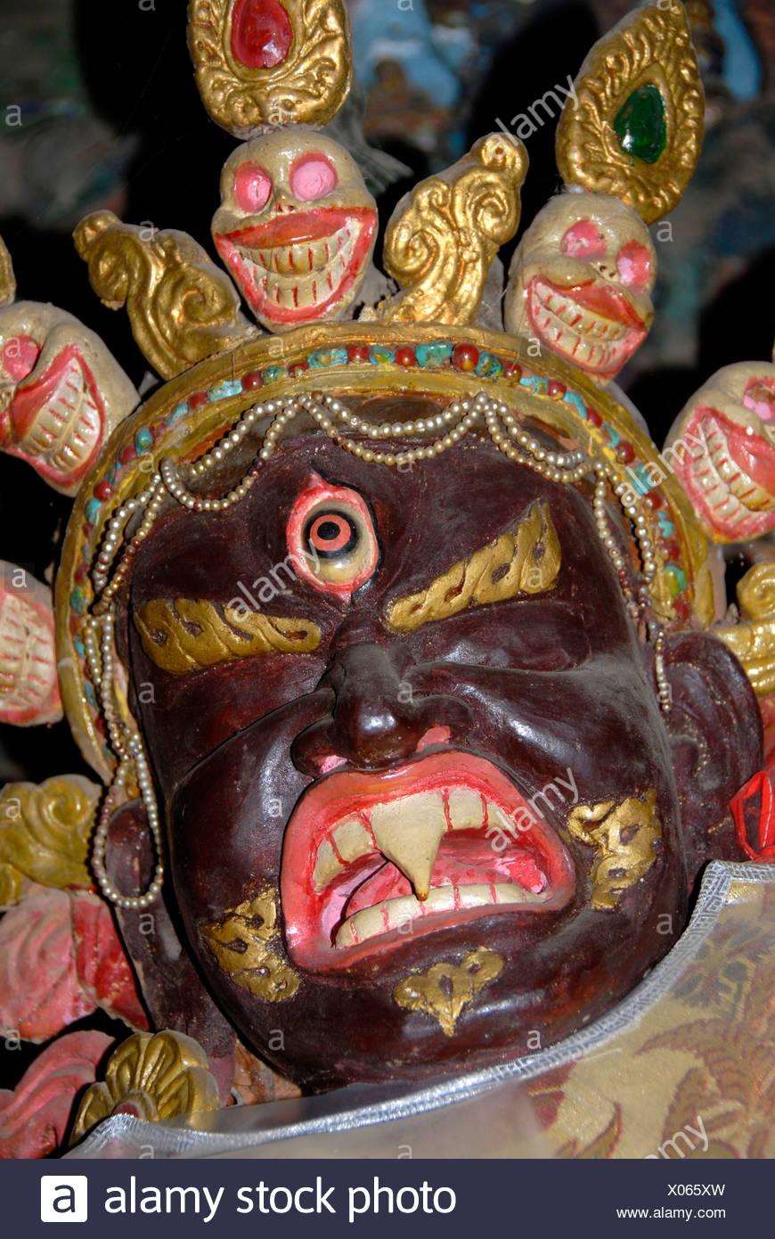 Tibetan Buddhism, fear, terrible demon in a temple, gruesome mask, Lhasa, Himalayas, Tibet Autonomous Region, People's Republic Stock Photo