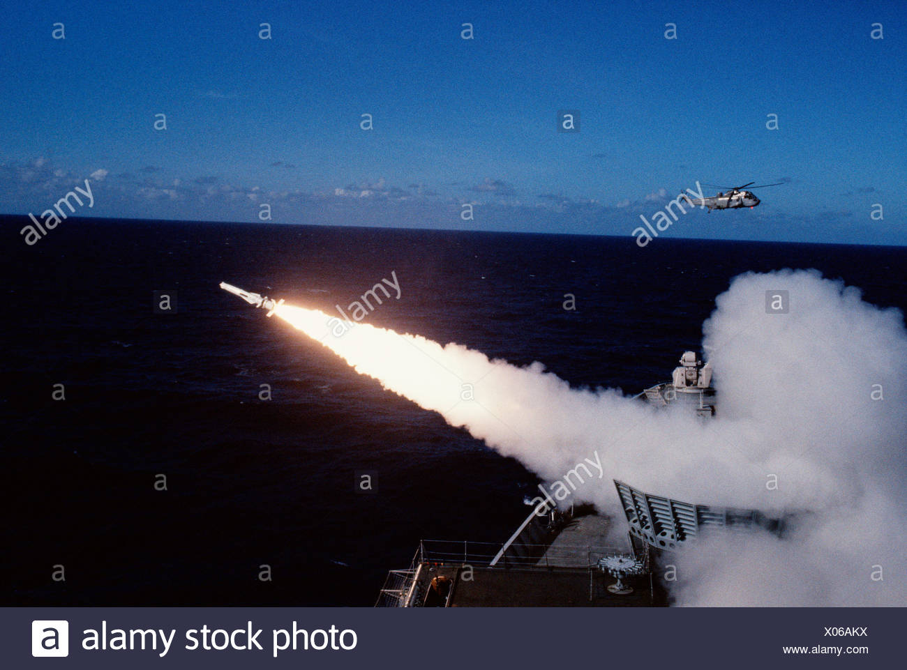 British Navy warship missile launch. - Stock Image