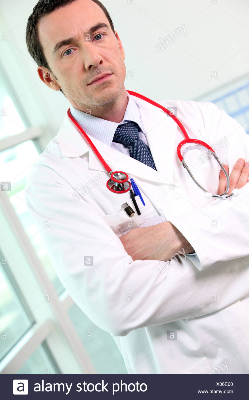 Portrait of male doctor - Stock Image