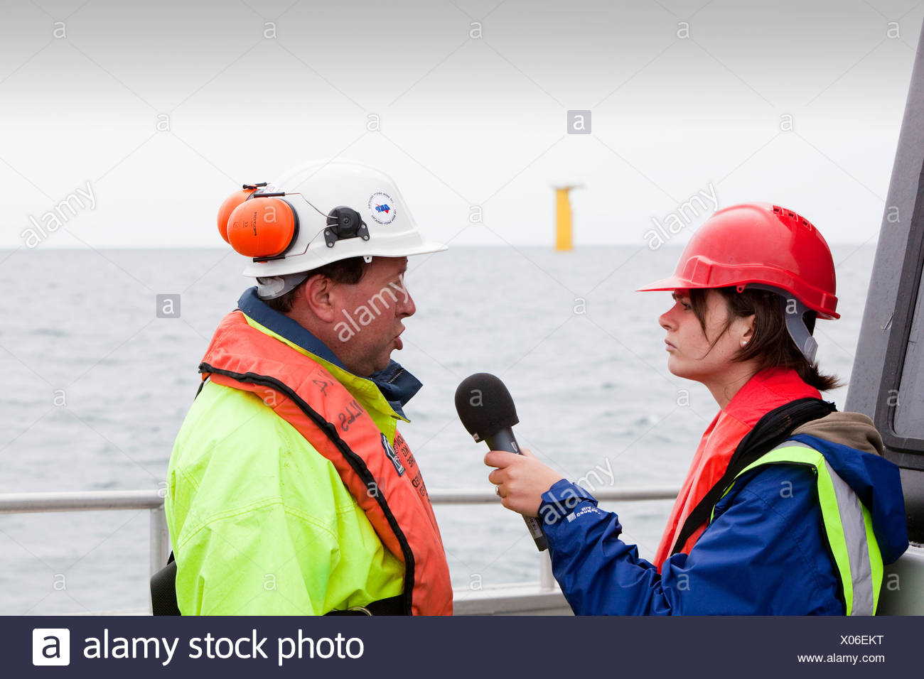 Dong Energy's construction of the new Walney off shore wind farm - Stock Image