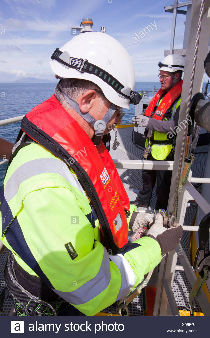Health and safety workers on a wind turbine in the Walney offshore