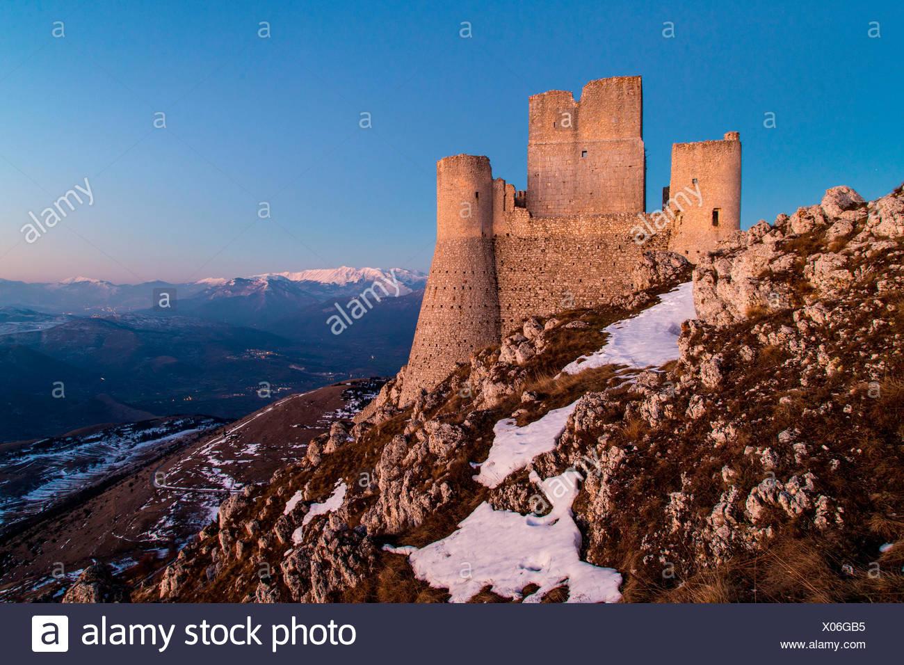 Europe, Italy, Abruzzo. Rocca Calascio at blu hour Stock Photo