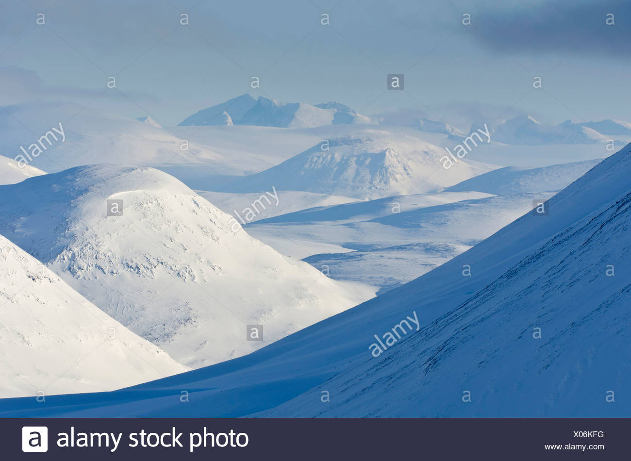 snow covered mountains of Kebnekaise Fell, Sweden, Lapland, Norrbotten - Stock Image