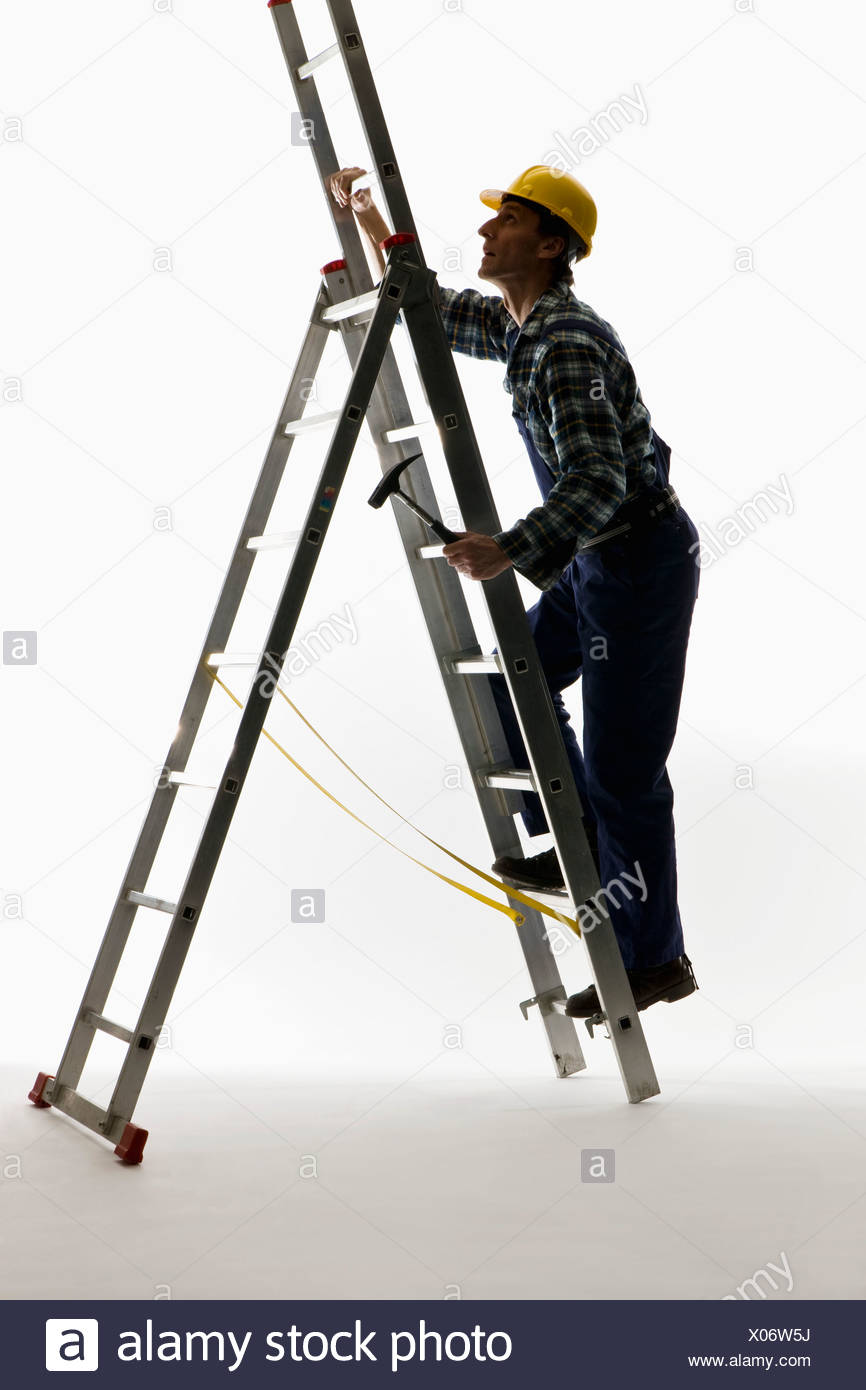 A construction worker climbing a ladder Stock Photo: 275517358 - Alamy for Worker Climbing Ladder  54lyp
