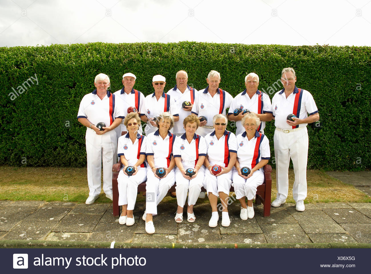 bowls team shot - Stock Image