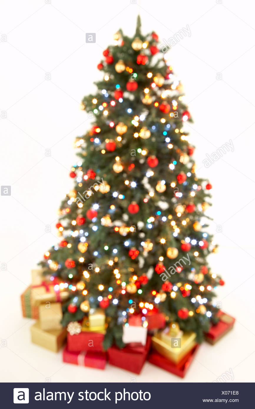 Christmas Tree White Background.Abstract View Of Christmas Tree Against White Background