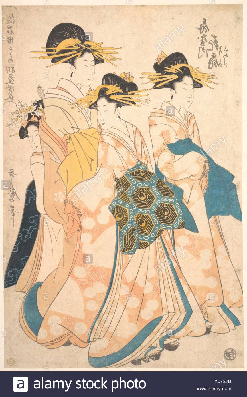 遊君出そめ初衣裳 扇屋内花扇/The Oiran Hanaogi of Ogiya attended by Two Shinzo and Her Kamuro Yoshino. Artist: Utamaro II (Japanese - Stock Image