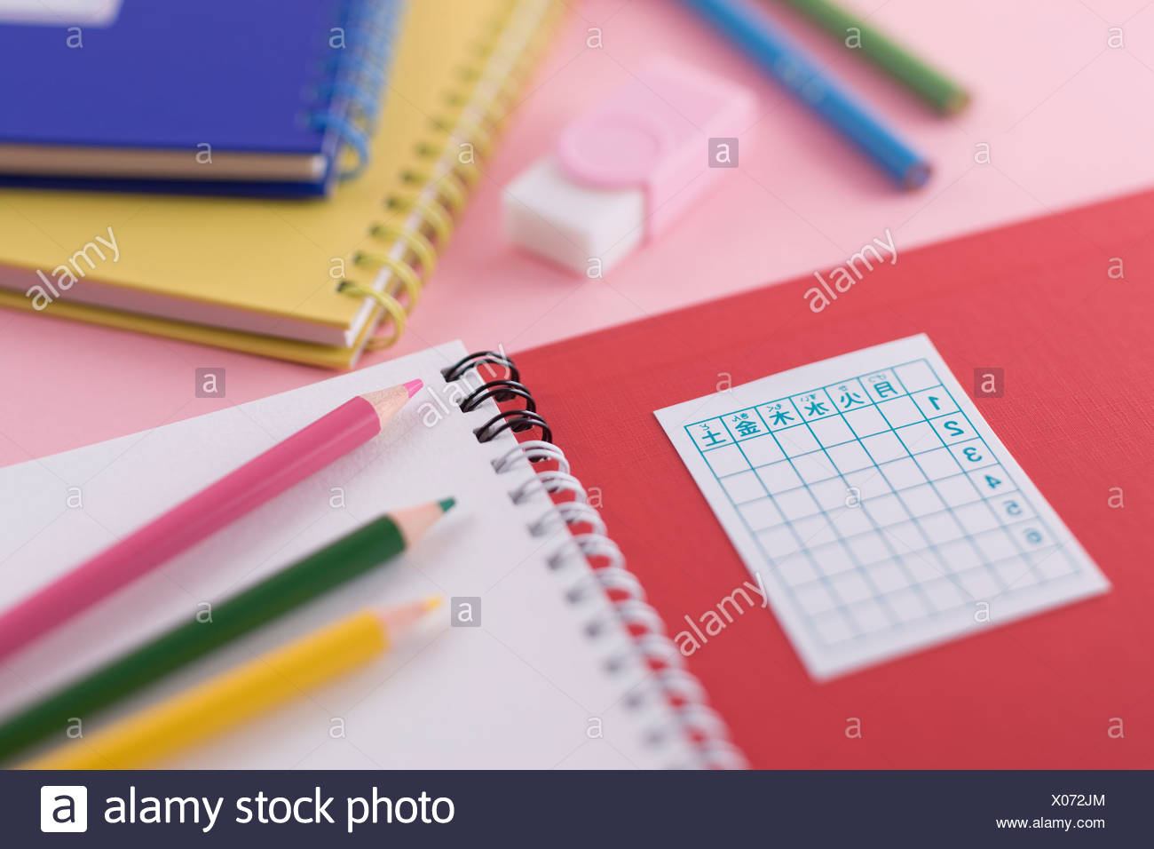 Notebook and colored pencil - Stock Image