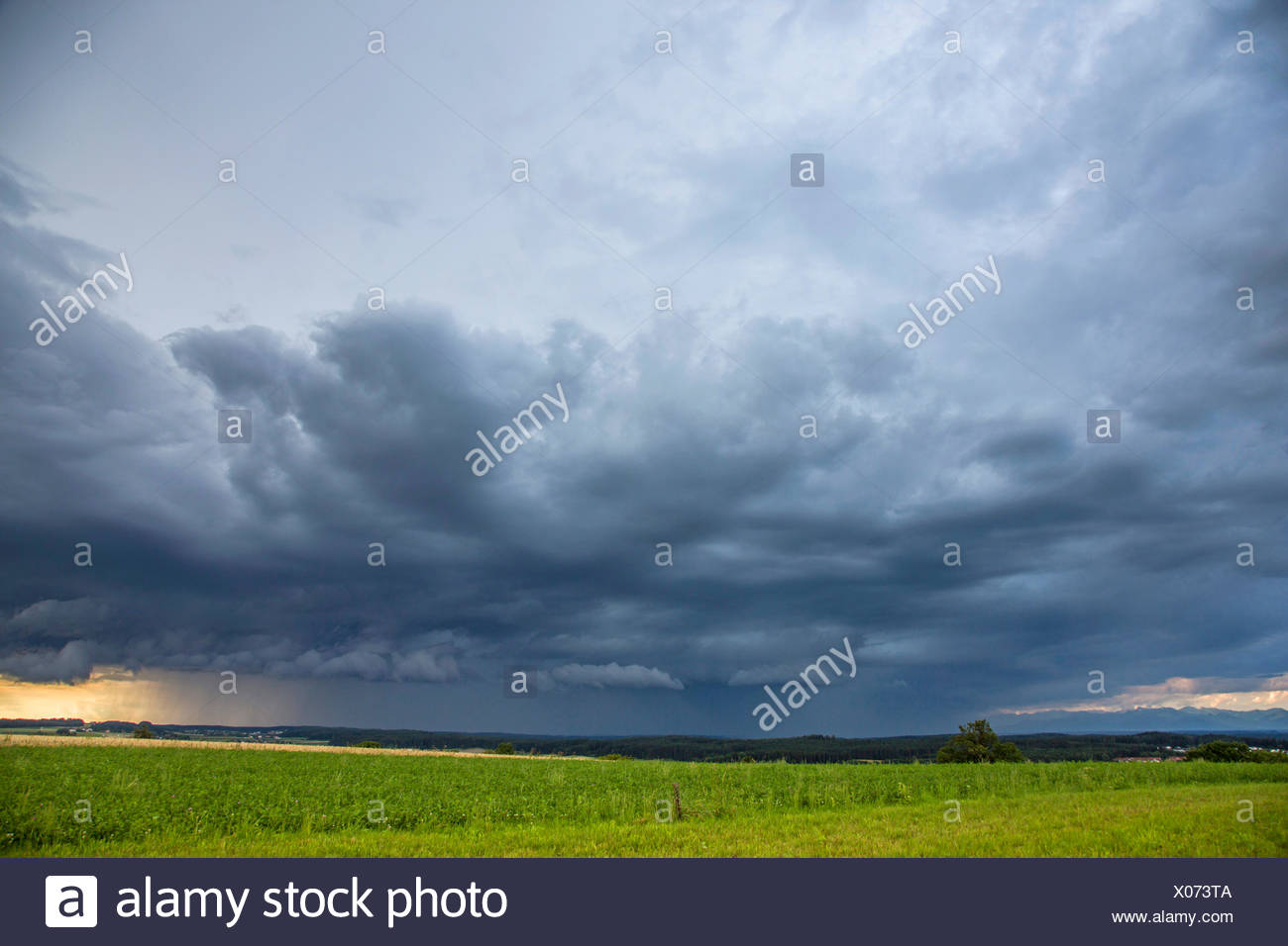 thunder clouds and heavy rain, cumulunimbus clouds, Germany, Bavaria, Alpenvorland - Stock Image