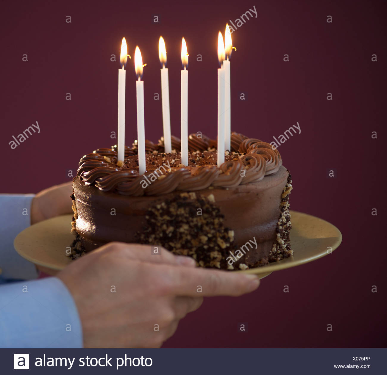 Incredible Studio Shot Of Man Holding Chocolate Birthday Cake Stock Photo Birthday Cards Printable Trancafe Filternl