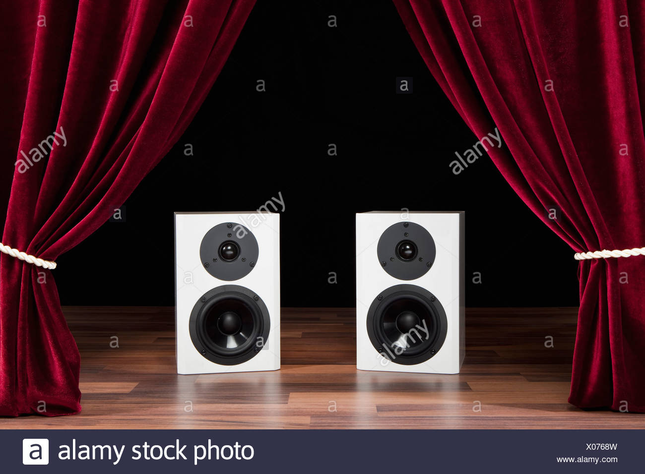 Two Audio Speakers On A Theatre Stage Stock Photo
