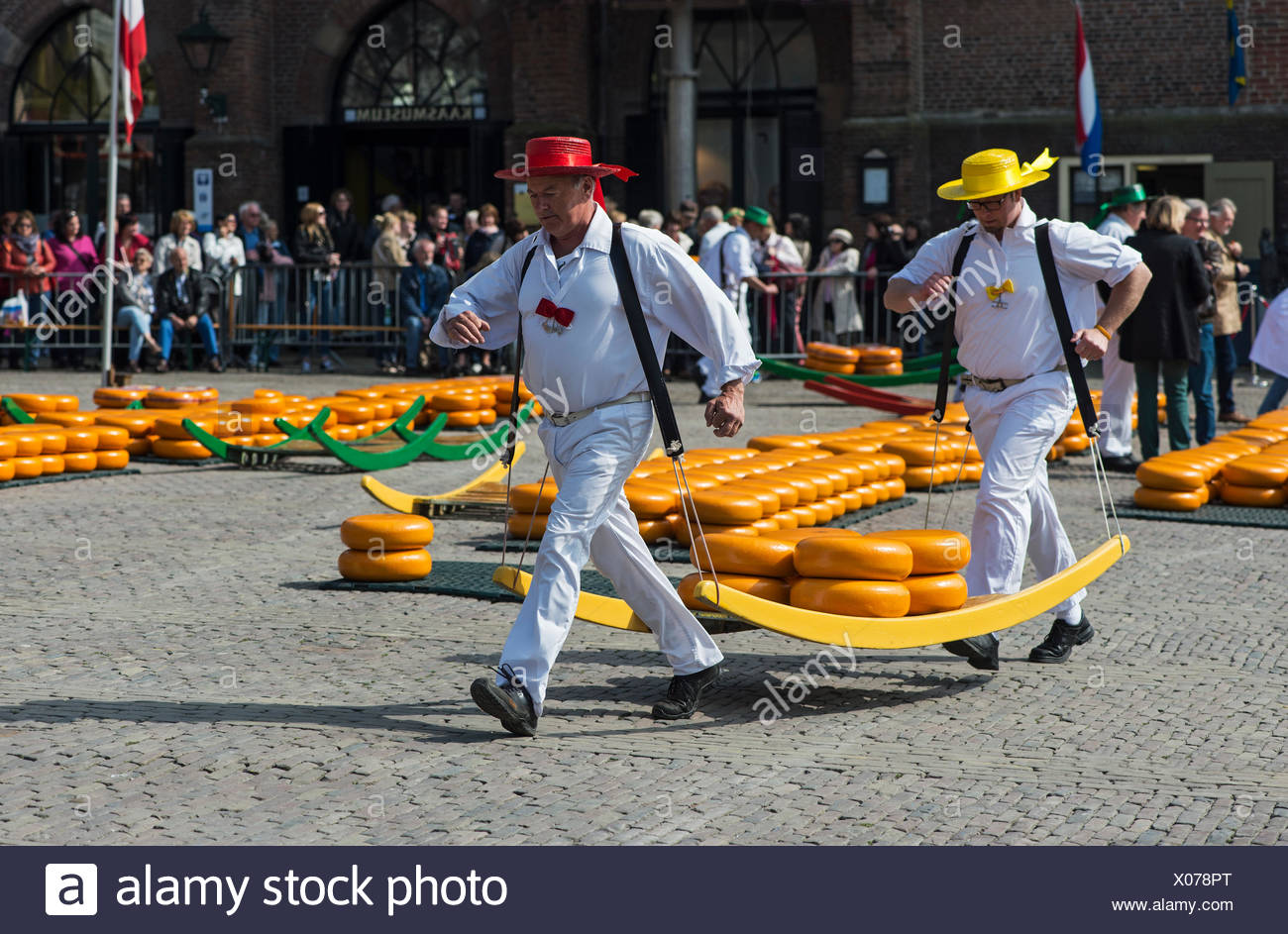 Cheese carriers at Alkmaar Cheese Market, North Holland, Netherlands - Stock Image