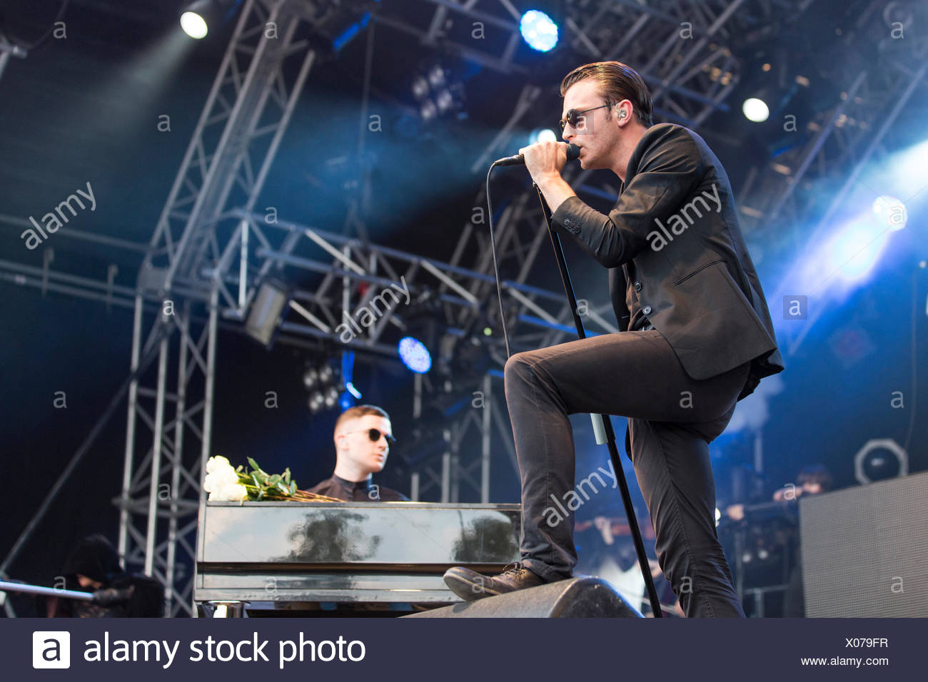 Singer Theo Hutchcraft and pianist Adam Anderson from the British synth-pop band Hurts performing live at Heitere Open Air in - Stock Image