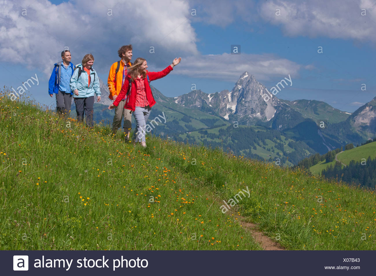 Traveller, Saanenland, Gstaad, canton, Bern, mountain, mountains, couple, Couples, summer sport, footpath, walking, hiking, trek - Stock Image