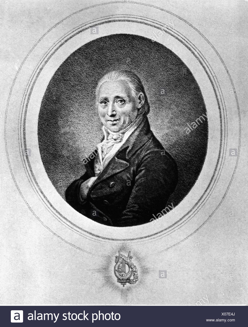 Vanhal, Johann Baptist, 12.5.1739 - 20.8.1813, Bohemian composer, portrait, oval, Additional-Rights-Clearances-NA - Stock Image